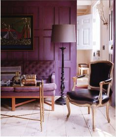 This room is a monochromatic color scheme because of the different shades and tones of purple : monochromatic-color-scheme-room - designwebi.com