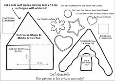 Pattern for cute felt Christmas house. It would also be cute in a smaller version as an ornament.