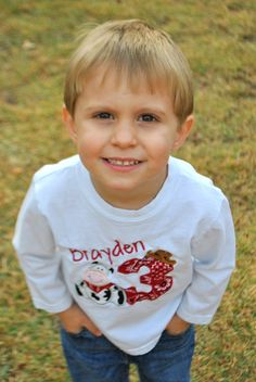 Barnyard Themed Applique Shirt for Birthday Boy.