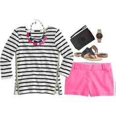 Stripes & Pink by steffiestaffie on Polyvore featuring J.Crew, Jack Rogers, Michael Kors and Tory Burch