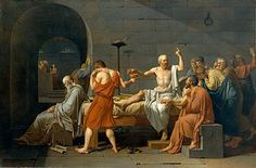 The Death of Socrates-Jacques Louis David-France-Neoclassicism-Socrates has been convicted of corrupting the youth of Athens and introducing strange gods, and has been sentenced to die by drinking poison hemlock. Socrates uses his death as a final lesson for his pupils rather than fleeing when the opportunity arises, and faces it calmly.