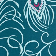 Annette Tatum - Classica Sateen - Plume in Peacock  Manufacturer: Westminster / Free Spirit (SAAT006.Peacock)  Designer: Annette Tatum  Collection: Classica Sateen  Print Name: Plume in Peacock  Weight / Material / Width: Home Decor, Cotton Sateen, 54 inches   Horizontal repeat: 24 inches