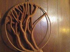 "Lg Vintage Macrame Wall Hanging TREE 24x47""Wrapped Woven Knots Textile Art Decor #Handcrafted"