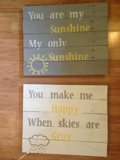 Homemade wood pallet signs..or could use crates from basement??