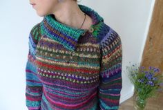 Handmade bright and colourful striped wool sweater by TASSSHA