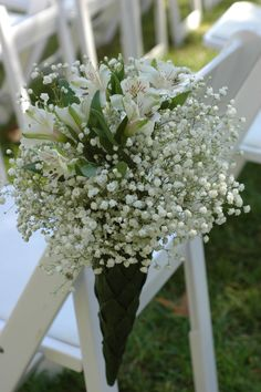 baby's breath and alstromeria - inexpensive flowers for an aisle cluster Wedding Pews, Pool Wedding, Church Wedding Decorations, Aisle Decorations, Wedding Church, Aisle Flowers, Church Flowers, Spring Wedding Flowers, Floral Wedding