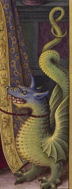 Dragon (detail) from Grandes Heures d'Anne de Bretagne, a manuscript illumination by Jean Bourdichon, 1503-08