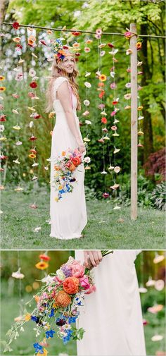 flower wedding backdrop and wildflowers boho wedding bouquet