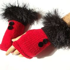 Hand Knit Red And Black GloveS Mitten Fingerless Gloves by Pasin, $32.00