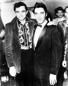 Johnny Cash and Elvis Presley backstage at the Opry by Gordon Stoker. Dec 21st, 1957…