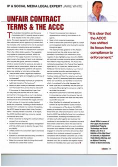 Unfair contract terms and the ACCC  For further information or a copy of this article please email info@podlegal.com.au or visit www.podlegal.com.au