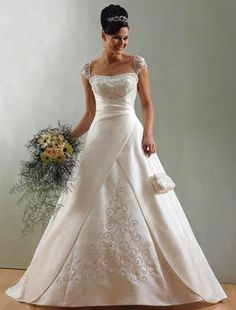 (FITS002033)A-line Square Embroidery Sleeveless Chapel Train Satin Wedding Dress for Brides