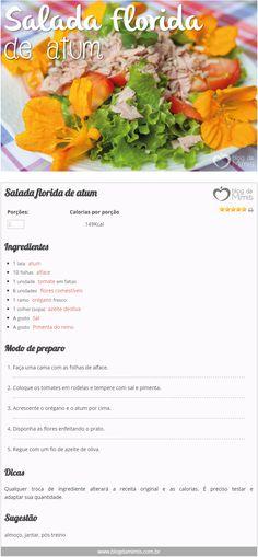 Salada florida de atum - Blog da Mimis #salada #flores #panc #receita #emagrecer