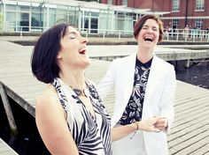 Catherine & Sue - Wedding Photography at The West Reservoir Centre, Hackney Wedding, bride, brides, laughing, portrait, happy, couple