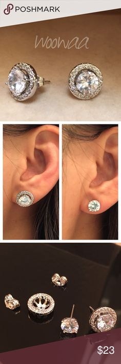 18K white gold filled swarovski crystal Gem Type:Diamond cut crystal Earring size:17*10mm Main Gem Size:6mm Gem Quantity:22 Cut:Round Brilliant Color:white  Metal Type: 18k gold filled Gram Weight:2.3grams  Come with a pretty box Jewelry Earrings