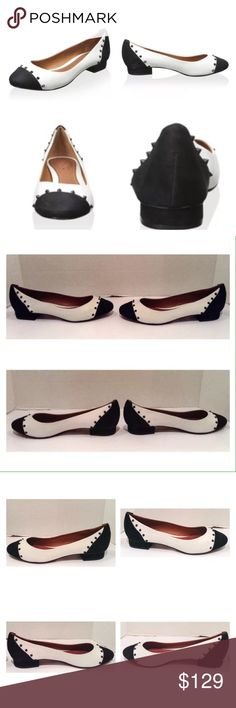 """Schutz Stan Studded Black And White Flat Schutz Stan black and white leather studded low heel pump.  Size 8 medium.  New with box.  This modern two tone flat features subtle contrast stud accenting on the toes and heel.  Heel: .5"""".  No trades. SCHUTZ Shoes Flats & Loafers"""