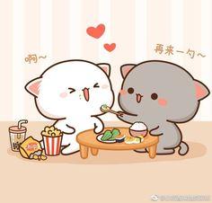 Feeding babe Cute Couple Cartoon, Cute Love Cartoons, Cat Couple, Chibi Cat, Cute Chibi, Illustration Mignonne, Cute Illustration, Stickers Kawaii, Cute Stickers