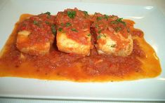 Cod with Tomato Sauce (Bacalao con Tomate) Spanish Cuisine, Spanish Food, Spanish Recipes, Cod Recipes, Cooking Recipes, Cod Fish, Fish Dinner, Learn To Cook, Tomato Sauce