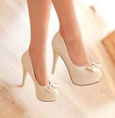 Design pumps sweet bowknot slim heel elegant shoes