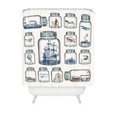 Time Travel in a Jar Shower Curtain | dotandbo.com