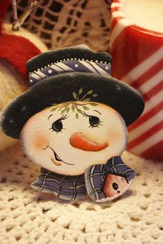 Hand Painted Wooden Snowman Brooch Pin by TracysCrtns on Etsy