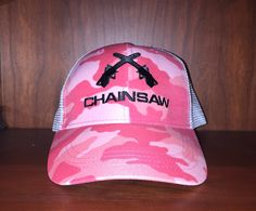 Ian Ziering's Chainsaw Brands  women's pink camo snap back cap. Available at www.chainsawbrands.com
