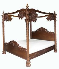 """Amazing Carved Palm Tree 4 Poster Bed 4'6"""" Double Mahogany. Wax Finish Choice"""