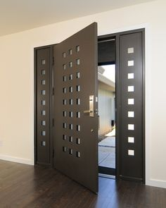 Modern Front Door with Sidelights with square cutouts, Contemporary Thermal Door 7421, Steel doorframe