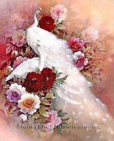 A Pair of White Peafowl & Roses~Vintage, Flowers, Peacocks~Cross Stitch Pattern #StoneyKnobFarmHeirlooms #Frame