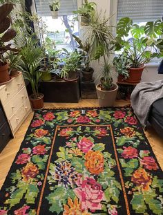 Beautiful colors, sweet flowers on a black elegant background, floral decor with accents of pink, green, yellow and fuchsia. Rug Making, Black Backgrounds, Wool Rug, Hand Weaving, Carpet, Elegant, Yellow, Rugs, Colors