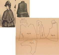 Der Bazar 1886: Autumn mantelet for young misses from brown checked woollen; 12. front part, 13. side gore, 14. back part, 15. pelerine-sleeve part, 16. undersleeve part, 17. rolled collar in half size