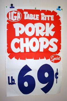 Vintage 1960s Table Rite Pork Chops Grocery Store Poster Sales Ad.