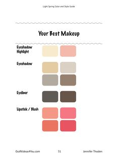 Spring Light spring color and style guide by Jennifer Thodon. Wedding Faq: Answers For Planning And Light Spring Palette, Spring Color Palette, Spring Colors, Best Lighting For Makeup, Home Design, Bright Spring, Warm Spring, Seasonal Color Analysis, Color Me Beautiful