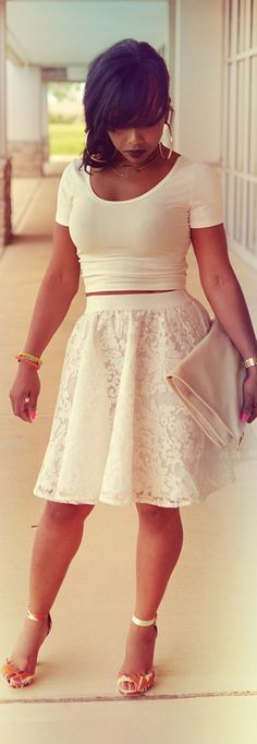 Love the skirt!  Don't love the crop top. ...needs to be a full shirt and our would be cute! :)