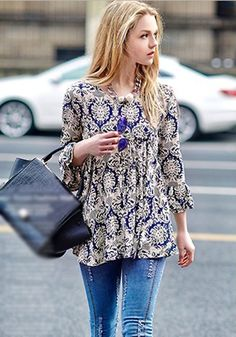 Blue Floral Ruffle 3/4 Sleeve Blouse - Tops