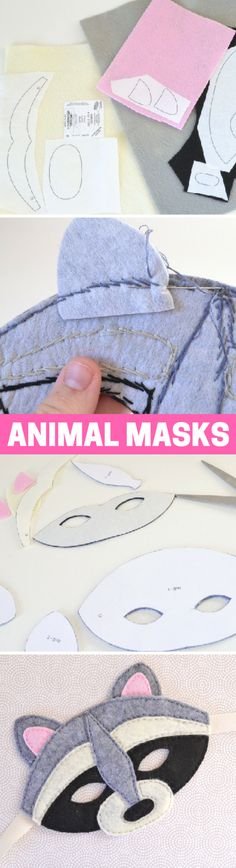 How to Make Felt Animal Masks Animal Masks, How To Make Diy, Felt Diy, Diy Craft Projects, Kids Crafts, Craft Ideas, Felt Animals, Sewing For Kids, Diy Costumes
