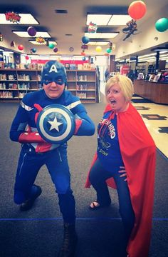 Library director Captain America and Super Librarian!