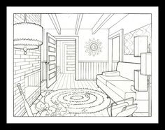 Outline drawing of a living room to use in communicative activity