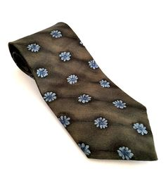 Men's Silk Tie Made in USA Dark Gray with Blue Flowers Neck Ties #Tie