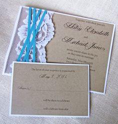 Kraft Wedding Invitation Rustic Wedding by LoveofCreating on Etsy, $100.00