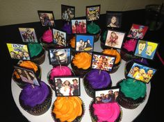 Cupcakes with 90s toppers
