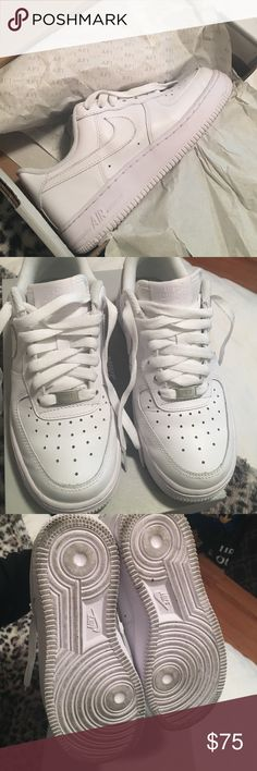 Air Force 1's All white AF1's. Lightly used, still in perfect condition! Size 6 womens or a kids 4.5Y. Box included. Originally $90 Nike Shoes Sneakers