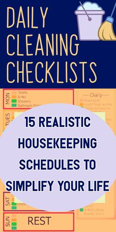 Daily Cleaning Checklists / 15 Realistic Housekeeping Schedules To Simplify Your Life Speed Cleaning, Cleaning Hacks, Housekeeper Checklist, Housekeeping Schedule, Daily Cleaning Checklist, Clean House Schedule, Diy Cleaners, Recipe For Mom, Mom Advice