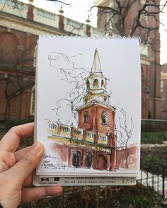 A beautiful day in a quaint courtyard  #art #draw #USKphilly #USK #urbansketchers #sketching #painting #travel #urbanjournaling #philadelphia