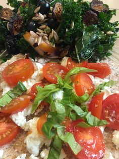 Day 09; January 9, 2016: The benefits of teaching whole food cooking class: Left-over kale salad, with the added side of fresh local Arizona organic tomatoes and just picked basil.