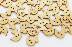 10 Duck Wood Button Children Button Animal by boysenberryaccessory
