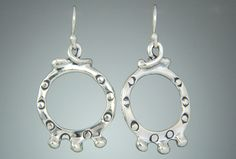12st 587 - Sterling Silver Earrings Etruscan Hoops with Balls on Silver Ear Wires.