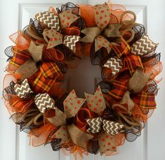 Fall Thanksgiving Deco Mesh Front Door Wreath - Orange Brown Burlap Wreath for Fall - Wreaths diy - Wreath Fall Mesh Wreaths, Autumn Wreaths For Front Door, Fall Deco Mesh, Holiday Wreaths, Fall Ribbon Wreath, Spring Wreaths, Tulle Wreath, Winter Wreaths, Summer Wreath