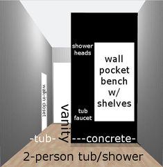 Wall Pocket Bench w/ Shelves: bench for sitting , shaving legs or washing a dog; shelves for shampoo &conditioner Vanity Shelves, Vanity Sink, Shower Tub, Shower Heads, Closet Vanity, Wood Sink, Tub Faucet, Wall Pockets, Shampoo And Conditioner