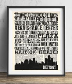 Detroit Landmarks Skyline and Typography Dictionary Art Print 8x10. Each print is created on a antique dictionary page from the early 1900's. The pages used are random pages from a vintage dictionary. Each page has a great antique look and feel. You will receive the exact image shown however the dictionary page that is used will vary. This makes each print one of a kind, as no two pages will be exactly the same. Each print measures 8x10 inches unless otherwise noted. Colors may vary…
